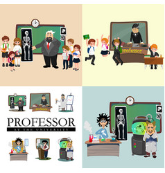 professor teaching at the blackboard university vector image