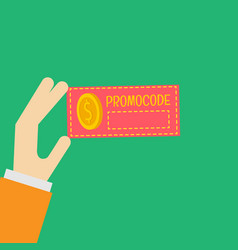 Promo code card discount on the banner vector