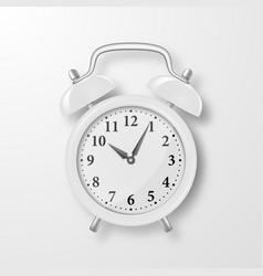 realistic 3d white retro alarm clock vector image