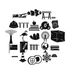 Redeployment icons set simple style vector