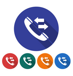 round icon handset with incoming-outgoing vector image