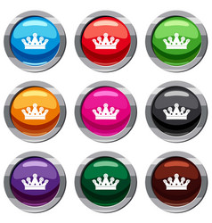 royal crown set 9 collection vector image