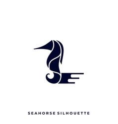 sea horse silhouette design template vector image