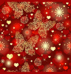 seamless vivid red valentine pattern with hearts vector image