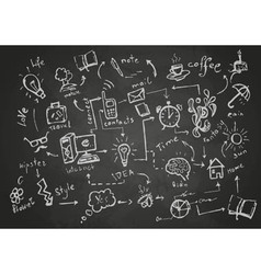 Set chalk objects drawings vector