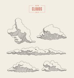 Set engraved style clouds drawn sketch vector