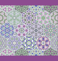 Set from hexagonal lilac patterned tiles vector
