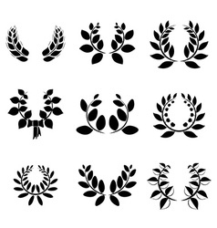 Set of little laurel wreaths vector image