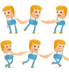 Set of mechanic character in different poses vector