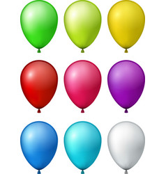 set of realistic colorful balloons vector image