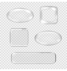 Set of transparent glass buttons White vector