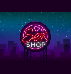 sex shop logo emblem in neon style neon effect vector image