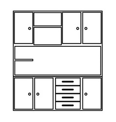 sketch silhouette of modern kitchen cabinets vector image