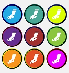 Socks icon sign Nine multi colored round buttons vector