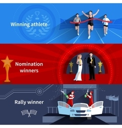 Sports And Nomination Winners Banners Set vector