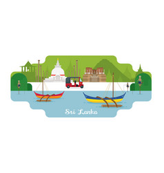 Sri lanka travel and attraction landmarks vector