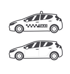 taxi car icon flat line vector image