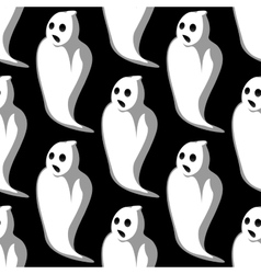 Terrifying white ghosts seamless pattern vector image