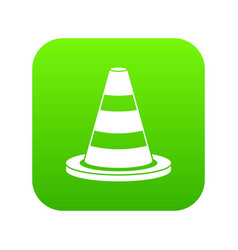 Traffic cone icon digital green vector