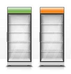 Two empty vertical refrigerators with transparent vector image