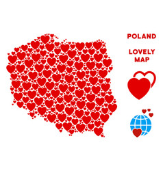 Valentine poland map mosaic of hearts vector