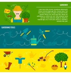 Vegetable garden horizontal banners flat vector image