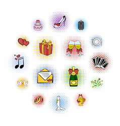 wedding comics icons set vector image