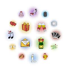 wedding comics icons set vector image