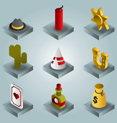wild west color gradient isometric icons vector image