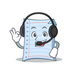 With headphone notebook character cartoon design vector