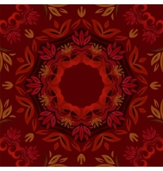 Abstract dark red floral background with round vector image