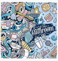 cartoon doodles bathroom frame vector image vector image