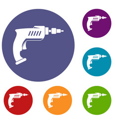 drill icons set vector image