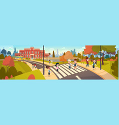 group of pupils walking on crosswalk mix race vector image vector image