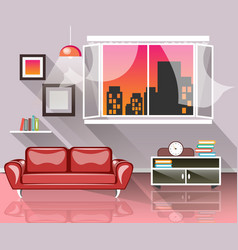 living room interior with window vector image vector image