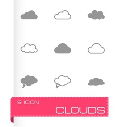 black clouds icons set vector image