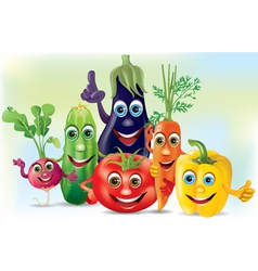 Cartoon company vegetables vector image vector image