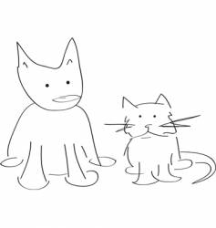 cat and dog doodle vector image