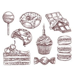 Confectionery sketches hand drawing vector image