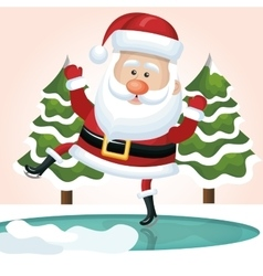 santa claus jump on ice with tree design vector image vector image