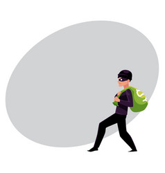 thief robber burglar trying to escape with a vector image
