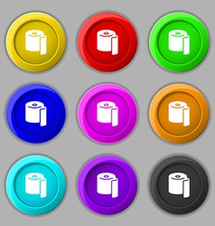 toilet paper icon sign symbol on nine round vector image