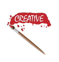 logo brush and red paint vector image vector image