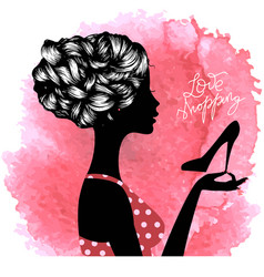 silhouette of shopaholic girl vector image vector image