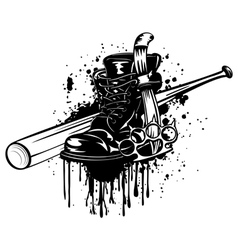 bat boot knife and knuckleduster vector image