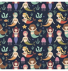 Cute mermaids seamless pattern vector image vector image