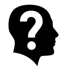 Human face with question mark vector image