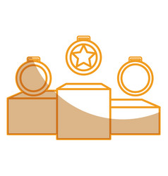 set championship medals with podium isolated icon vector image
