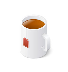 tea mug isolated on white background isometric vector image vector image