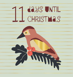 11 days until christmas bird vector image
